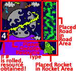 Screenshot from the Prometheusaurus game of gameplay with a planet, starpath, and rocket. The screenshot indicates what each part of the play area means.