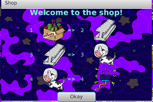 Screenshot from the Prometheusaurus game of the shop window, which shows the items required to trade in order for others.