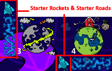 Screenshot from the Prometheusaurus game of starting setup, with multiple planets and two rockets and starpaths of the same color. The screenshot labels the starter rockets and roads.