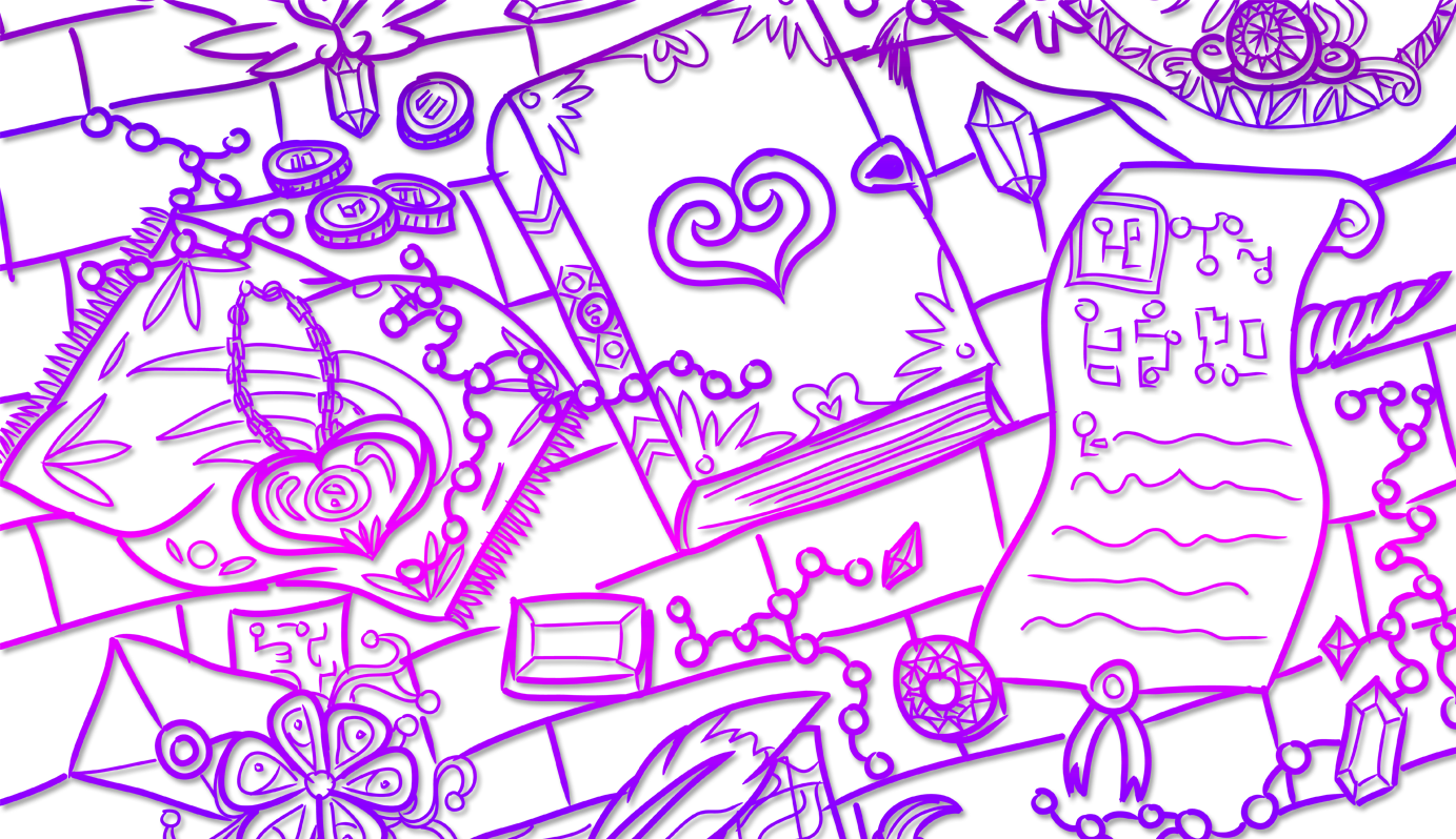 Digitally inked, cropped banner drawing in a purple gradient of Various magical items laid out on a table, including a tome with a heart on it and a scroll with ancient glyphs.
