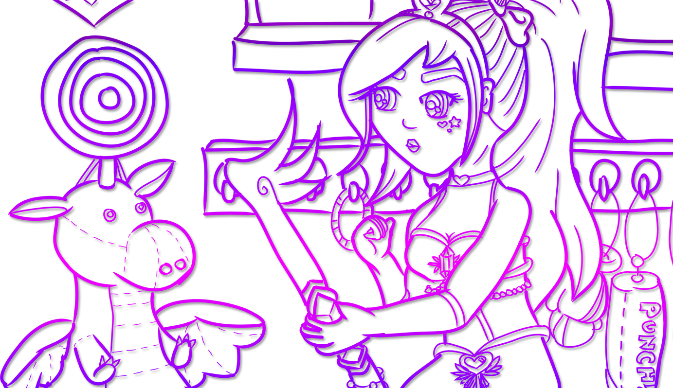 Digitally inked, cropped banner drawing in a purple gradient of the magical Girl training with her magical key staff by wielding it in a practice room against a plush dragon.