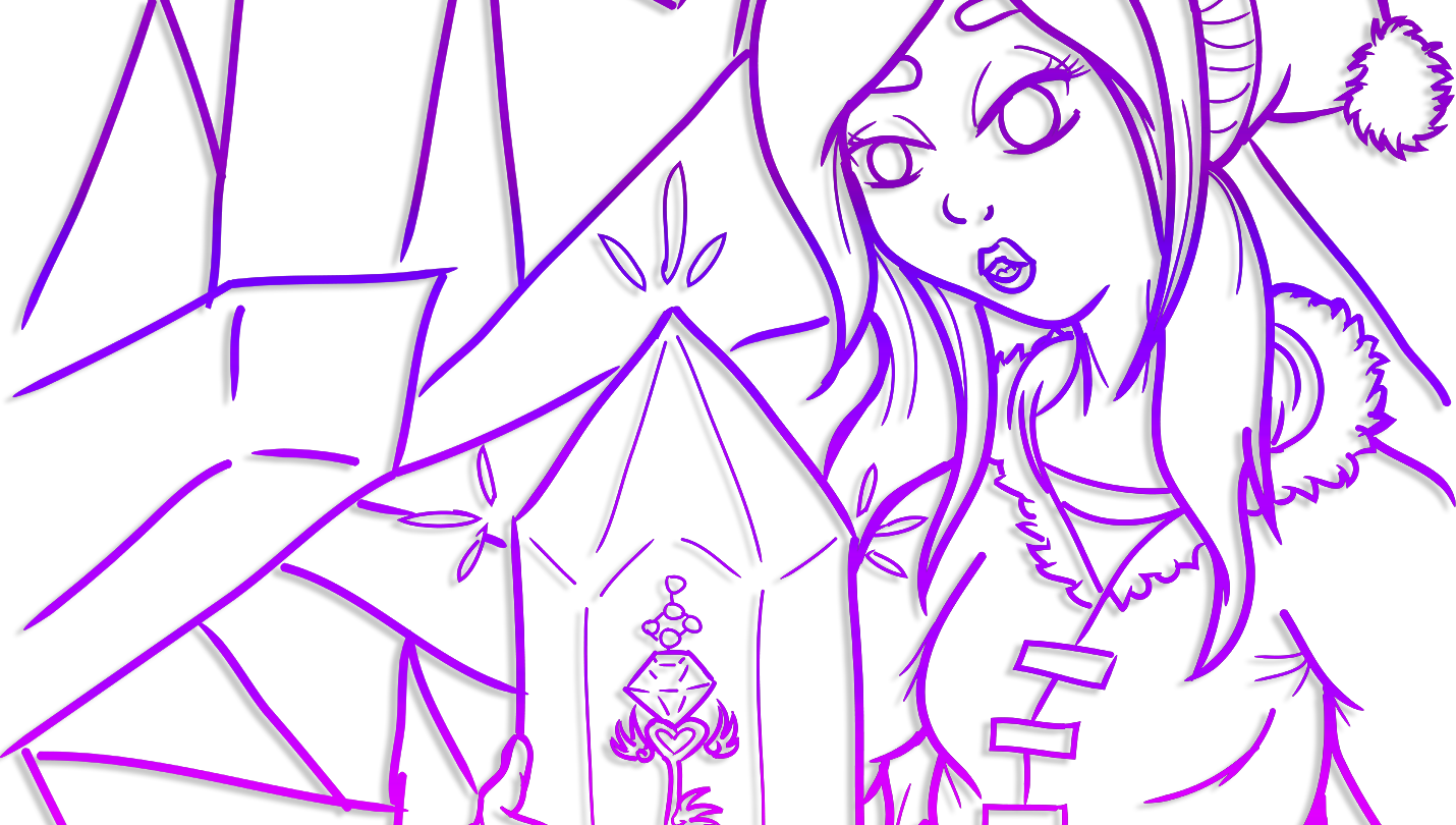 Digitally inked, cropped banner drawing in a purple gradient of the snowy outfitted Girl holding the Discovered crystal, seeing a key inside of it.