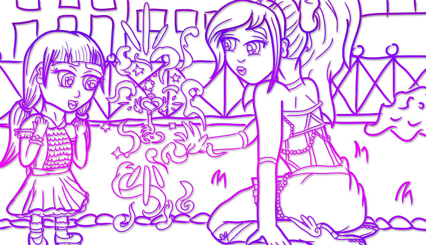 Digitally inked, cropped banner drawing in a purple gradient of the magical girl levitating magical key with magical aura emanating from it, while a young girl looks on in awe.