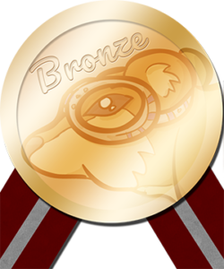 Graphic of a bronze colored medal with a burgundy ribbon that has a silver stripe extending from two bottom corners. The medal says
