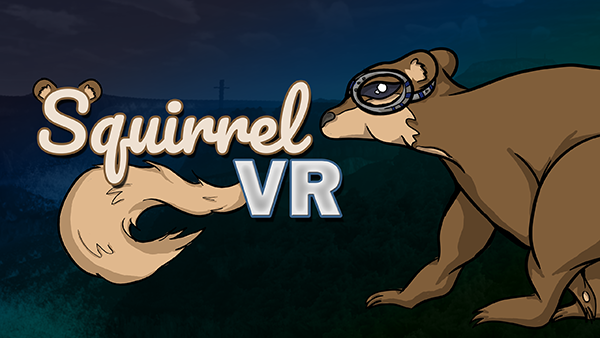 """Cover image for Squirrel VR's store page, featuring a logo that says """"Squirrel VR"""" with ears on the S and a tail extending from the """"VR"""". To the right, an image of the squirrel faces toward the logo"""