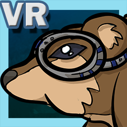 Icon graphic for Squirrel VR game, which shows the squirrel's head wearing goggles and the text VR in the top left. The background is dark blue with a lighter blue border, and the squirrel is over the top of the light blue border.
