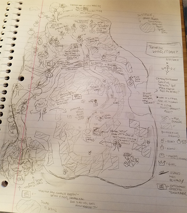 Paper sketch of a tutorial level design for the Squirrel VR game. It showcases various landmarks for collectibles and receiving tutorials or various guidance on mechanics, as well as showing the physical boundaries and environment surrounding these.