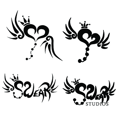 Image comparing the original Swear studios text logo and heart logo on the right to the more crisp revamped versions on the left.