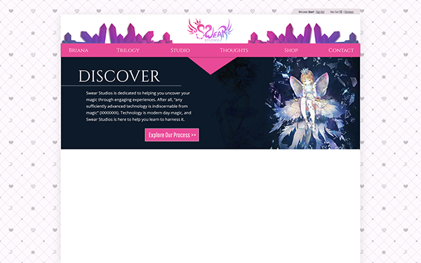 A mockup of this site created in Photoshop, featuring cut crystals and the logo nested on top of a pink navigation banner, a dark blue hero image with text and CTA to the left and a magical image to the right, and space for content below. The content area sits on a backdrop with hearts and stars that resembles a tufted piece of fabric.