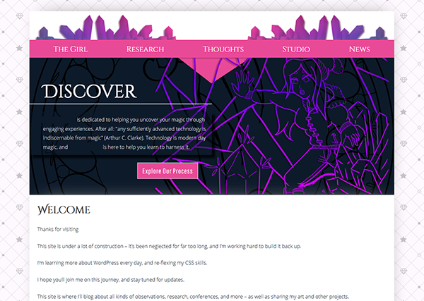 A screenshot of the actual site during initial development in WordPress, featuring cut crystals and space for the logo nested on top of a pink navigation banner, a dark blue hero image with text and CTA to the left and a magical image to the right, and space for content below. The content area sits on a backdrop with hearts and stars that resembles a tufted piece of fabric.