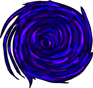 Colored digital drawing of a vortexing black hole as a planet tile in the Prometheusaurus game.