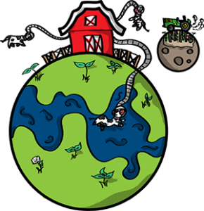Colored digital drawing of a grassy planet with a barn atop it, out of which several cows are attached via tubes and space helmets. A soil-based moon orbits with a tractor on it and corn growing. This is a planet tile in the Prometheusaurus game.