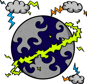 Colored digital drawing of a cloudy and water based planet with a lightning ring surrounding it. Several clouds emitting lightning circle it. This is a planet tile in the Prometheusaurus game.
