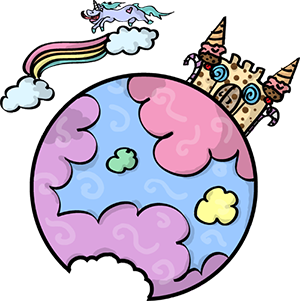 Colored digital drawing of a pastel cloudy planet with a cookie castle featuring ice cream cone spires on it. A rainbow is above the planet with a unicorn jumping over it. This is a planet tile in the Prometheusaurus game.