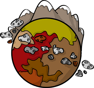 Colored digital drawing of a rocky planet with mountains extending from the top. A ring of meteors surrounds the center. This is a planet tile in the Prometheusaurus game.
