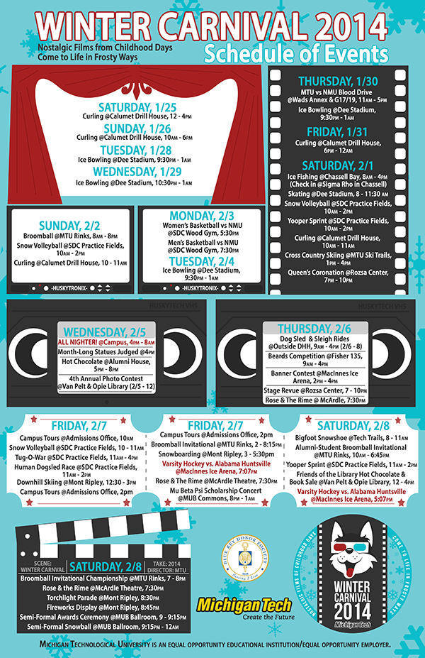 Poster design describing the events for Winter Carnival 2014. The posters elements evoke the theme of films, with various events placed in TV screens, a curtained screen, a film reel, movie tickets, a director's board, and VHS tape labels. The colors are limited to the color palette used in the logo.