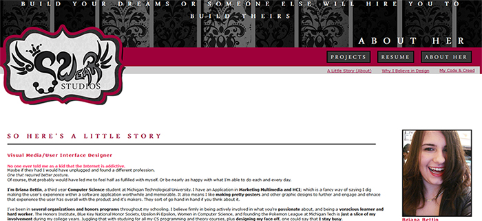 """Screenshot of the first version of the Swear Studios website. The site features a much more """"crafty"""" aesthetic with a raspberry burgundy accent versus true pink. The logo is outlined and contained within an embellished tag-style box, and the top of the site has a grey and black striped baroque filigree pattern with the text """"Build Your Dreams or Someone Else Will Hire You to Build Theirs"""" above it."""