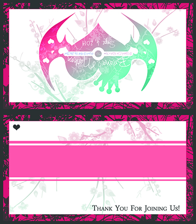 "Graphic design of a wedding guest name placecard to be folded down the center. It features a charcoal and pink border with charcoal branches extending through the pink border. The white space on both sides has a teal to pink gradiated cherry blossom branch through it. The front features the back features the wedding logo. The front features a colored band for adding a guest's name to, with a small heart in the upper left. In the lower right, it says ""Thank You For Joining Us!"""
