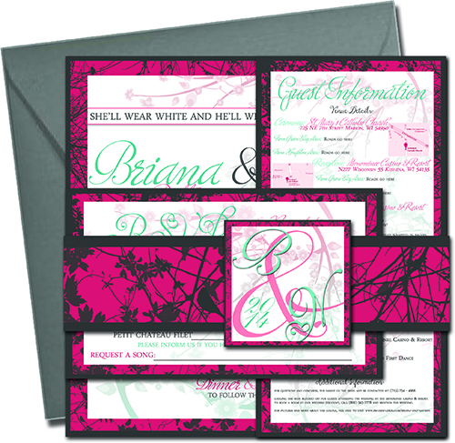 "Design mockup of a wedding invitation bundle. The bundle features a square wedding invite, a vertical guest information sheet, and a horizontal RSVP card. The bundle is wrapped with a matching paper ribbon that is charcoal and pink with charcoal branches in the Pink area. A paper buckle seals the ribbon which features the letters B & N and ""2014"" over the pink to teal cherry blossom backdrop. The bundle is shown with a grey envelope."