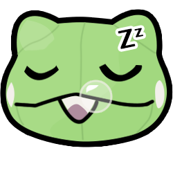 Colored digital drawing for an emote of a Pokemon substitute plush's head in an eyes closed, sleepy expression. Its mouth is slightly open to snore with Z's above i ts head and a small bubble near its mouth.